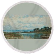 Landscape From The Surroundings Round Beach Towel
