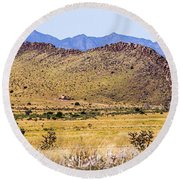 Landscape Galisteo Nm I10s Round Beach Towel