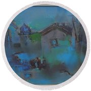 Landscape In Blue Round Beach Towel