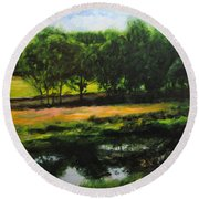 Landscape In North Wales Round Beach Towel