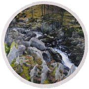 Landscape In Snowdonia Round Beach Towel