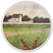 Landscape In The Ile De France Round Beach Towel