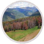 Landscape In Vail Round Beach Towel