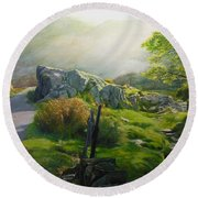 Landscape In Wales Round Beach Towel
