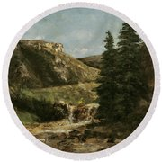 Landscape Near Ornans Round Beach Towel
