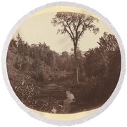 Landscape Near Williams College Round Beach Towel