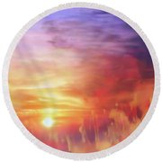 Landscape Of Dreaming Poppies Round Beach Towel