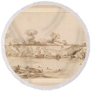 Landscape River With Bathers Round Beach Towel