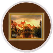 Landscape Scene - Germany L A With Decorative Ornate Printed Frame. Round Beach Towel