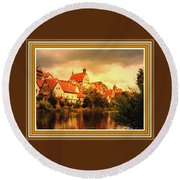 Landscape Scene - Germany. L B With Decorative Ornate Printed Frame. Round Beach Towel