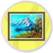 Landscape Scene Near Virginiahurst L B With Alt. Decorative Onate Printed Frame  Round Beach Towel