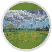 Landscape Under A Turbulent Sky Round Beach Towel