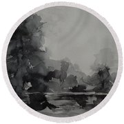 Landscape Value Study Round Beach Towel