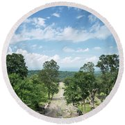 Landscape View From Preah Vihear Mountain In North Cambodia Round Beach Towel