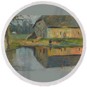 Landscape With A Barn Round Beach Towel