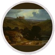 Landscape With A Castle Round Beach Towel