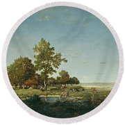 Landscape With A Clump Of Trees Round Beach Towel