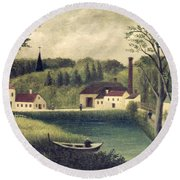 Landscape With A Fisherman Round Beach Towel