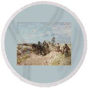Landscape With A Hay Cart Round Beach Towel