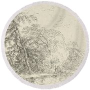 Landscape With A Herdsmen Round Beach Towel