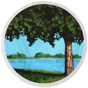 Landscape With A Lake And Tree Round Beach Towel