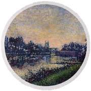 Landscape With A Lock 1885 Round Beach Towel