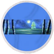 Landscape With A Moon Round Beach Towel