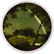 Landscape With A Rainbow Round Beach Towel by Joseph Wright of Derby