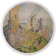 Landscape With A Ruined Castle  Round Beach Towel