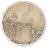 Landscape With A Rustic Bridge Round Beach Towel