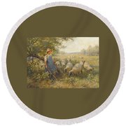 Landscape With A Shepherdess Round Beach Towel