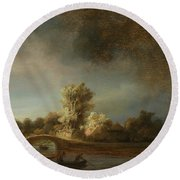 Landscape With A Stone Bridge Round Beach Towel