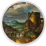 Landscape With A Tomb  Round Beach Towel by Theodore Gericault
