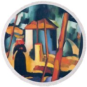 Landscape With Black Figure Round Beach Towel