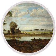 Landscape With Boatman Round Beach Towel