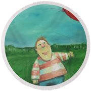 Landscape With Boy And Red Balloon Round Beach Towel