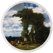 Landscape With Cattle At Limousin 1837 Round Beach Towel