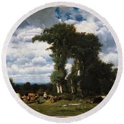Landscape With Cattle At Limousin Round Beach Towel