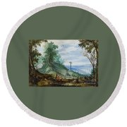 Landscape With Cattle Herd And Rider Round Beach Towel