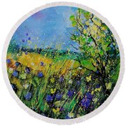 Landscape With Cornflowers 459060 Round Beach Towel