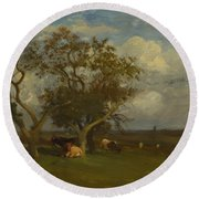 Landscape With Cows Round Beach Towel