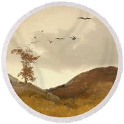 Landscape With Crows  Round Beach Towel