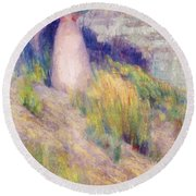 Landscape With Figure In Pink Round Beach Towel