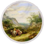 Landscape With Figures And Cattle Round Beach Towel