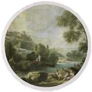 Landscape With Figures Round Beach Towel