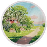 Landscape With Fruit Trees Round Beach Towel