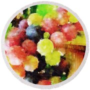 Landscape With Giant Grapes Round Beach Towel