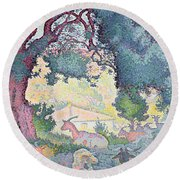 Landscape With Goats Round Beach Towel
