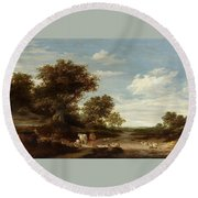 Landscape With Gracing Cows And Sheep Round Beach Towel