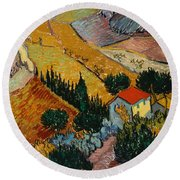 Landscape With House And Ploughman Round Beach Towel